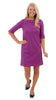 Yacht Club 3/4 Sleeve Dress - Double Knit Ponte Stripes - Pink/Purple