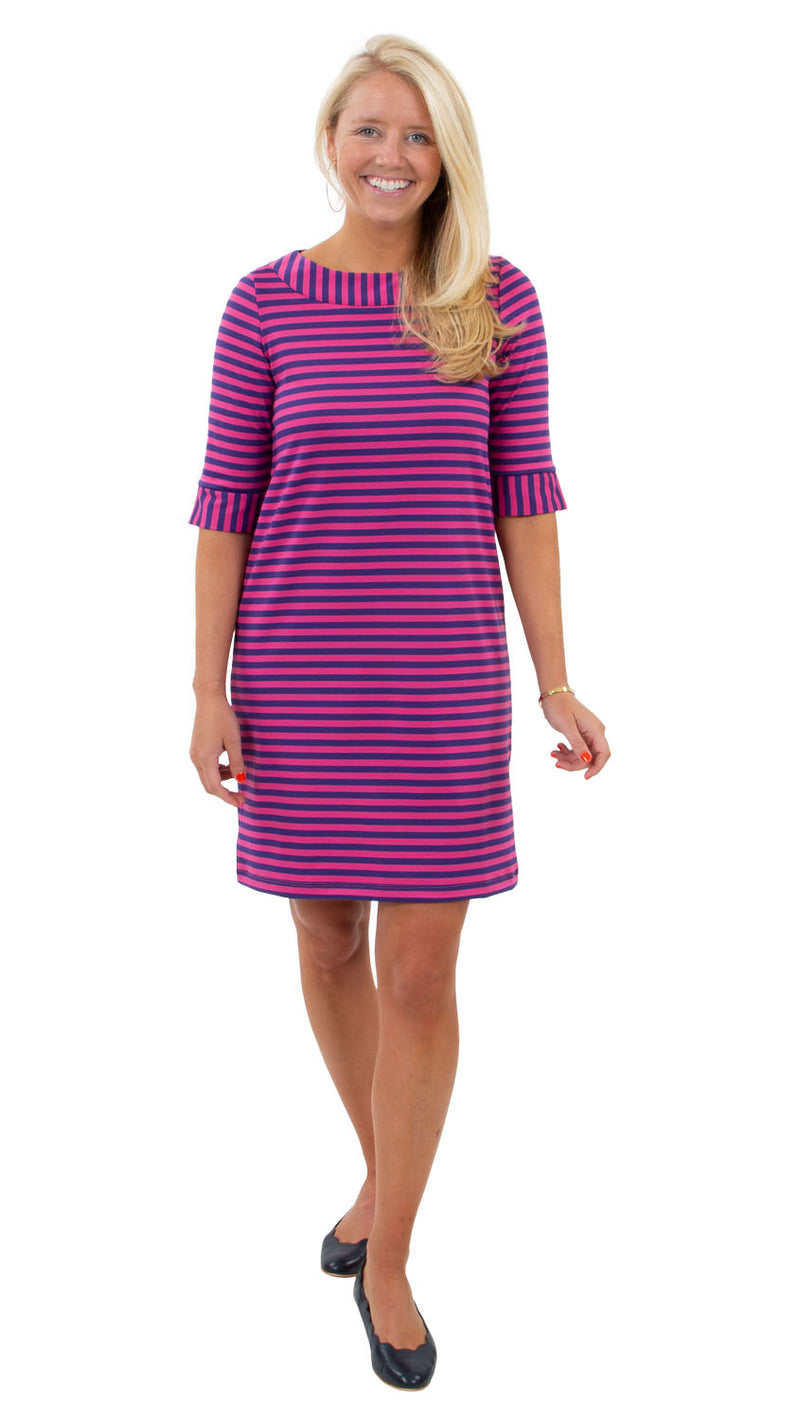 Yacht Club 3/4 Sleeve Dress - Double Knit Ponte Stripes - Pink/Purple - FINAL SALE