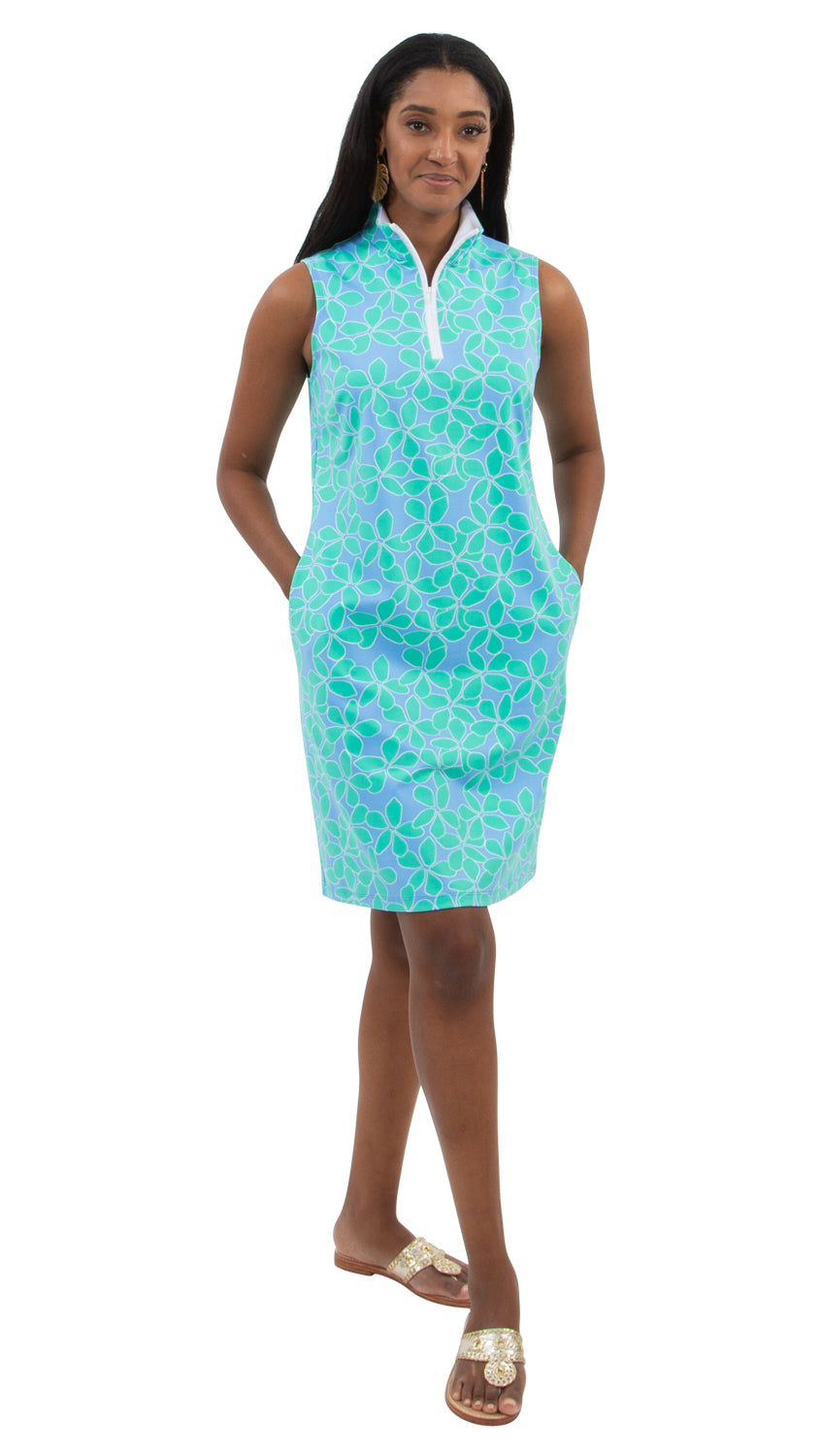 Britt Dress Sleeveless - Resort Hibiscus Mint/Blue