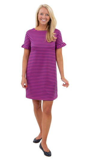 Coco Dress - Double Knit Ponte Stripes - Pink/Purple FINAL SALE