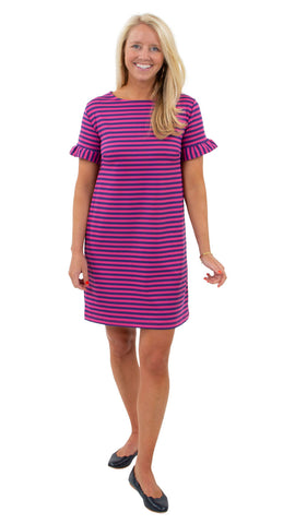 Coco Dress - Double Knit Ponte Stripes - Pink/Purple