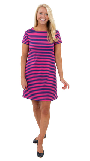 Marina Dress- Double Knit Ponte Stripes- Pink/Purple