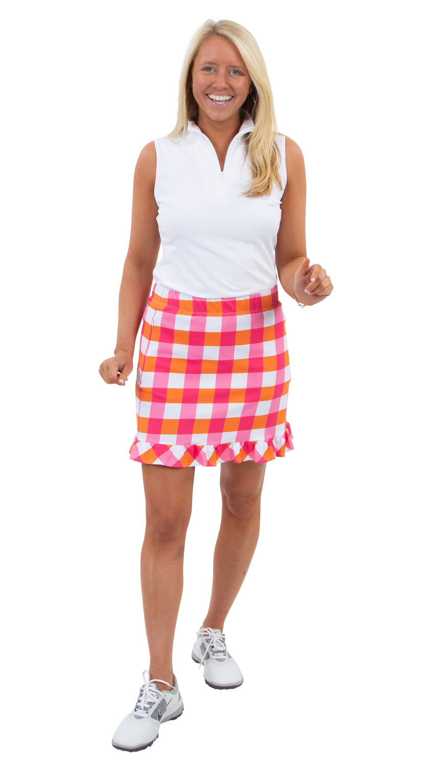 Ruffled Skort - Pink/Orange Chatham Check