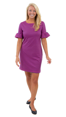Dockside Dress - Double Knit Ponte Stripes - Pink/Purple