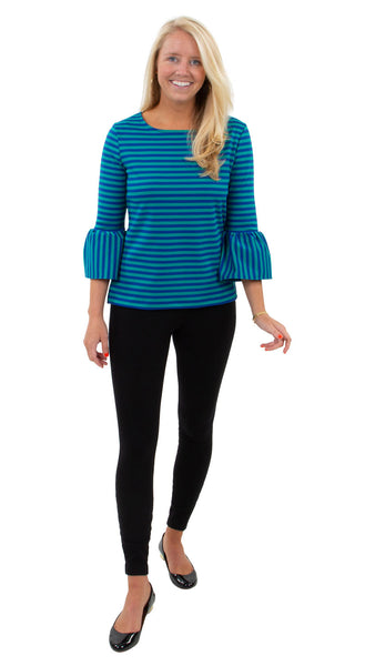 Haley Top- Double Knit Ponte Stripes- Green/Navy