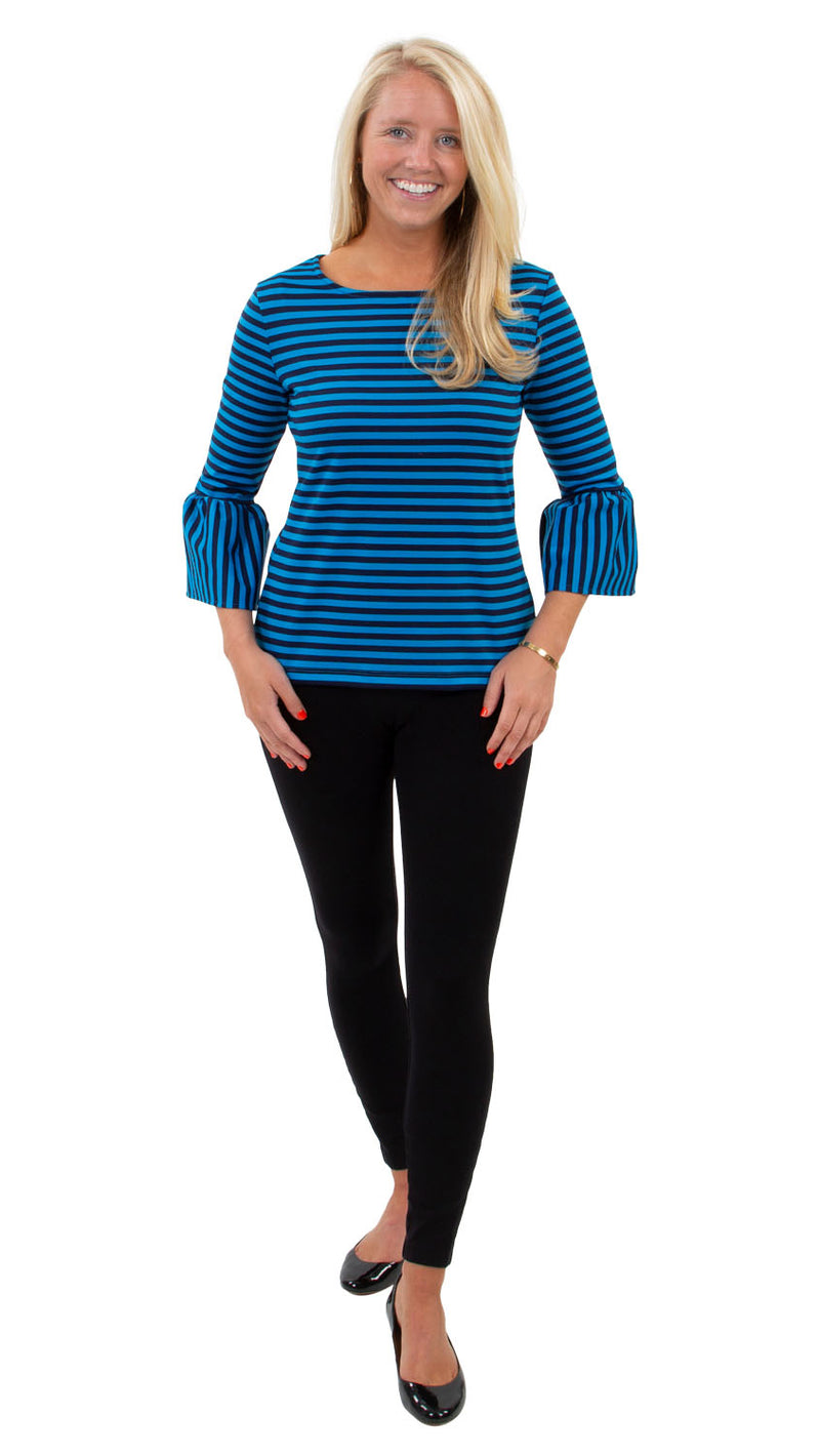 Haley Top - Double Knit Ponte Stripes - Navy/Azure Blue