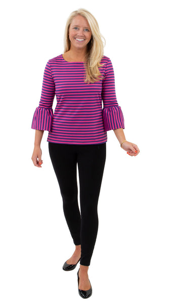 Haley Top - Double Knit Ponte Stripes - Pink/Purple