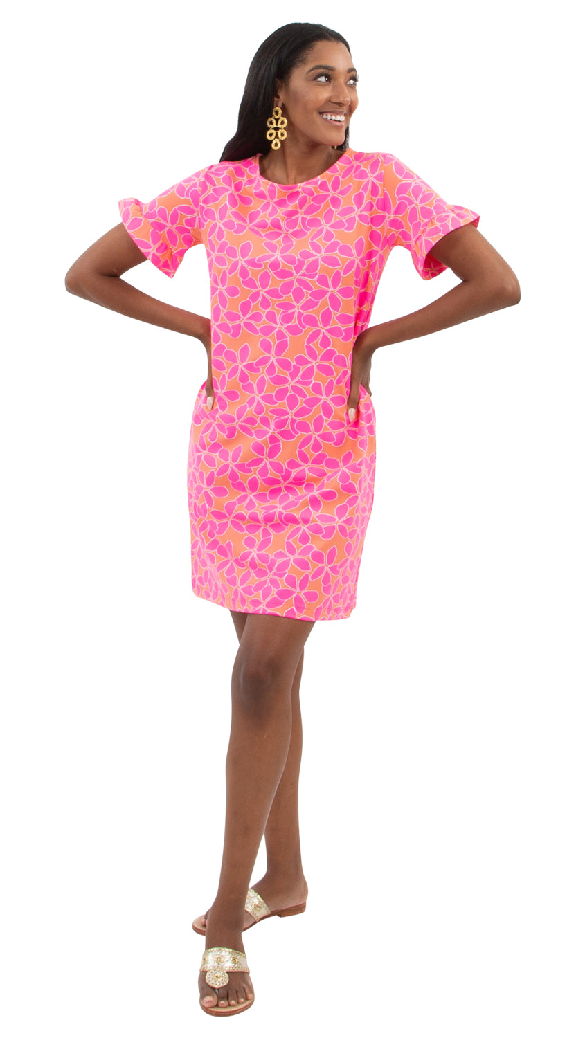 Coco Dress - Resort Hibiscus Coral/Pink
