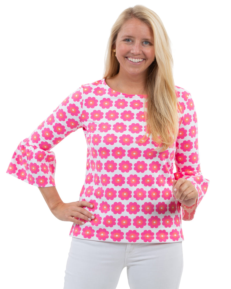 Haley Top - Pocket Full of Daisies Coral/ Pink