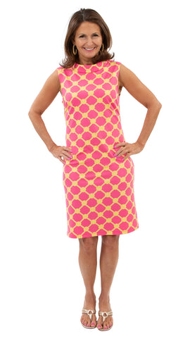 Jackie Sleeveless Dress - Knotted Rope Ball Pink/Yellow - SAMPLE FINAL SALE