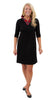 Bridget Dress 3/4 Sleeve - Black/Red Plaid Collar