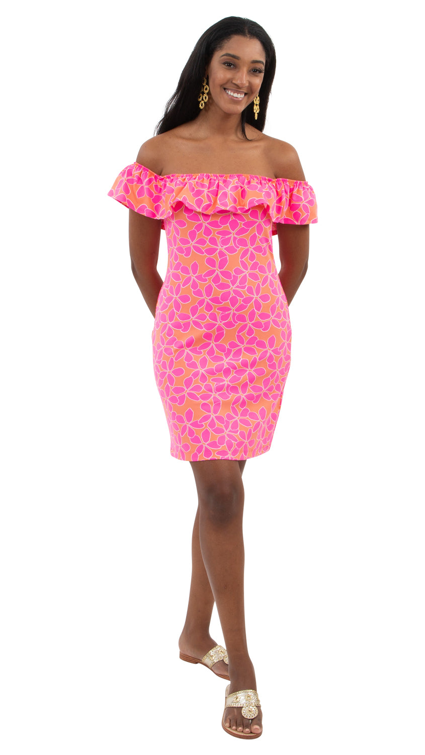 Shoreline Dress - Resort Hibiscus Coral/Pink