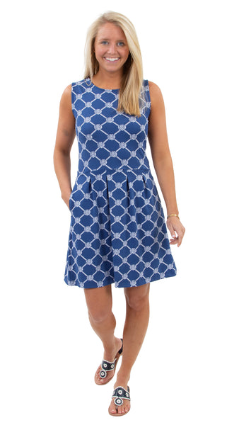Boardwalk Dress - Knotted Rope Ball Navy/White