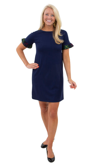 Coco Dress - Navy/Green Plaid Ruffle