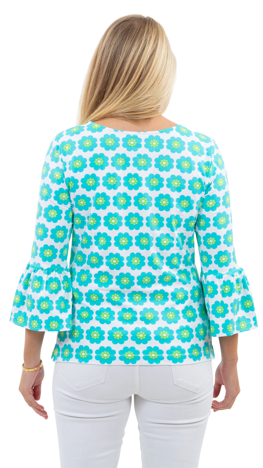 Haley Top - Pocket Full of Daisies Blue/Green