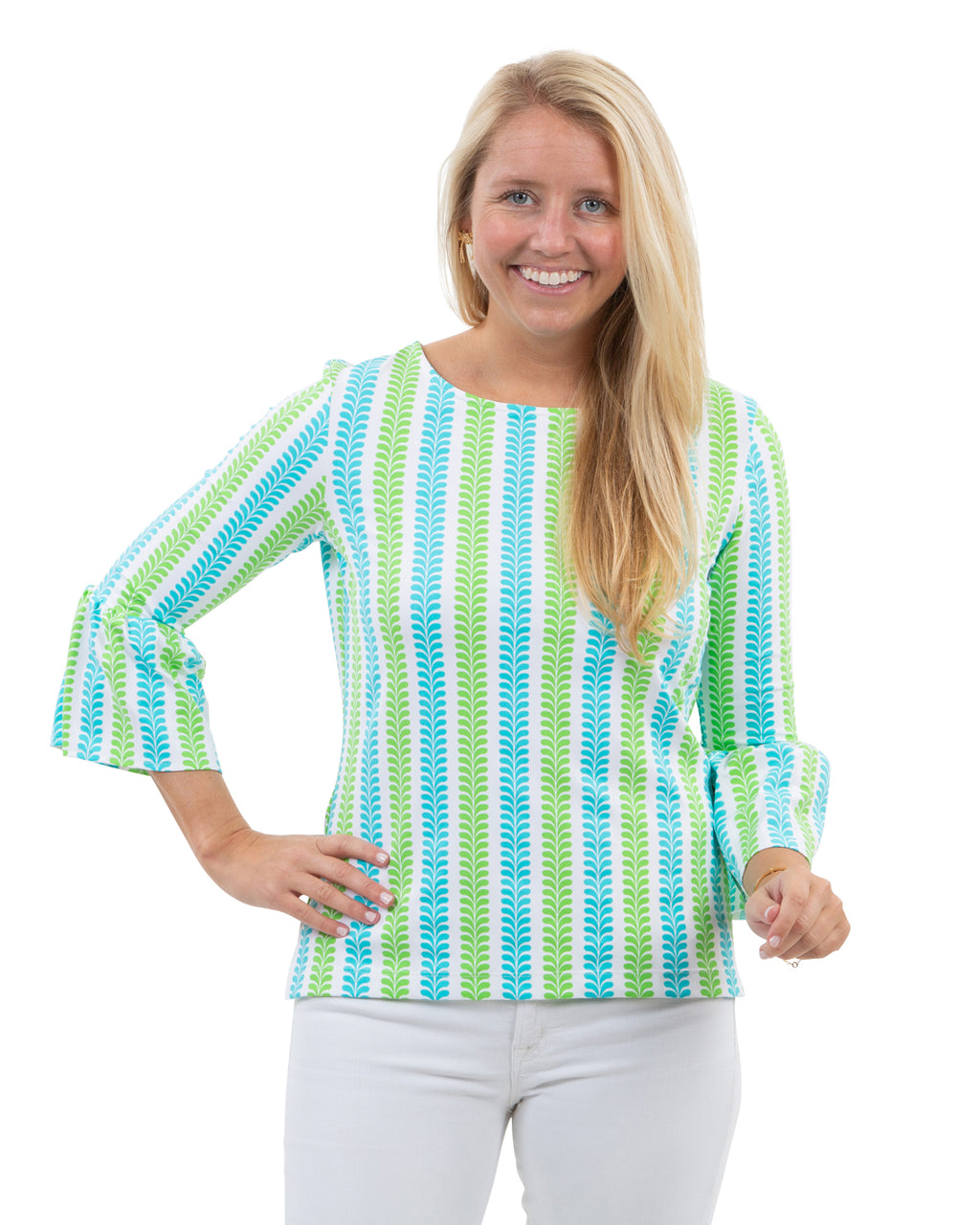 Haley Top - Vertical Vines Blue/Green-SAMPLE FINAL SALE