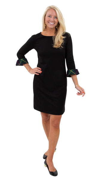 Dockside Dress 3/4 Sleeve - Black/Green Plaid Cuff - FINAL SALE