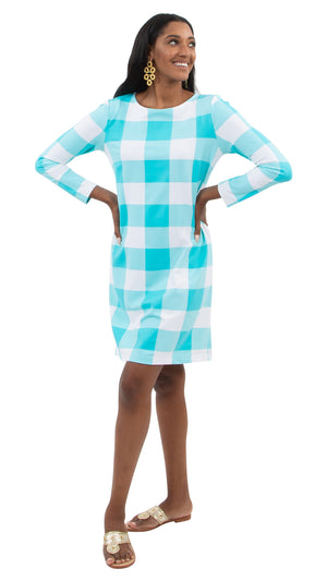 Marina Dress 3/4 - Blue Curacao Beach Check