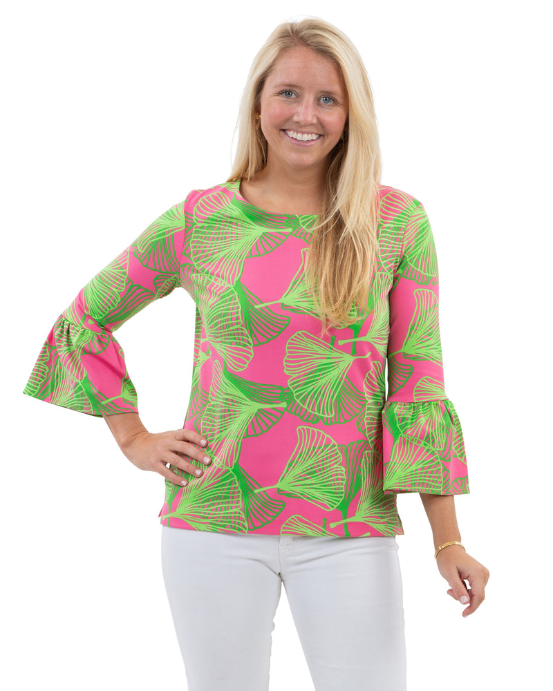 Haley Top - Large Gingko Pink/Green