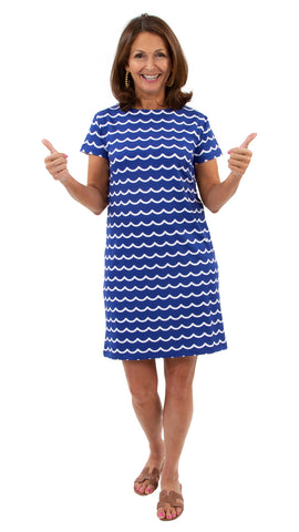 Marina Dress - Soft Wave White/True Blue SAMPLE - FINAL SALE