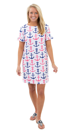 Coco Dress - Scribble Anchors - FINAL SALE