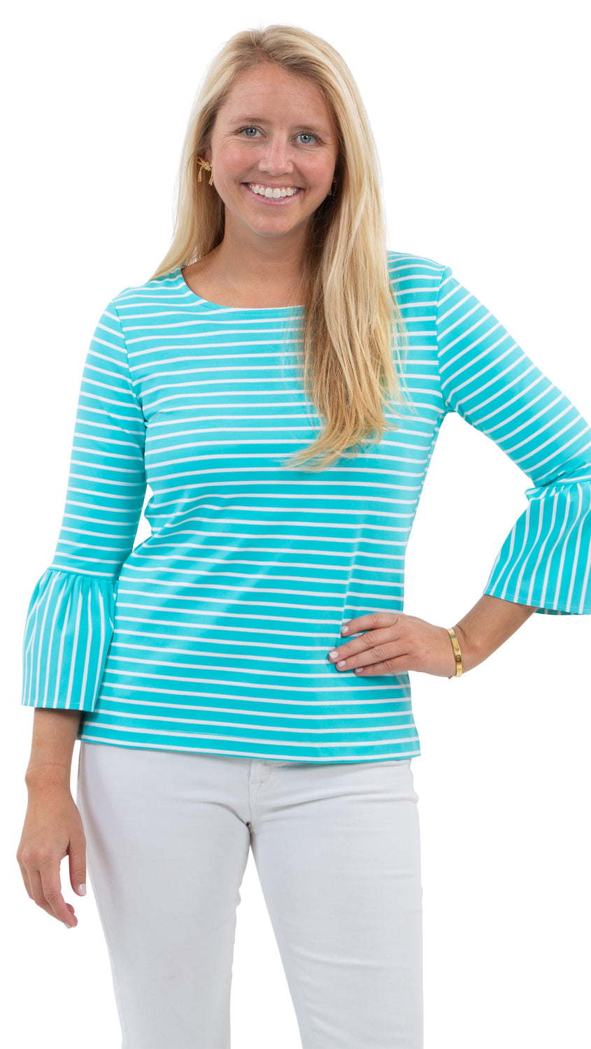 Haley Top - Blue Curacao Stripe