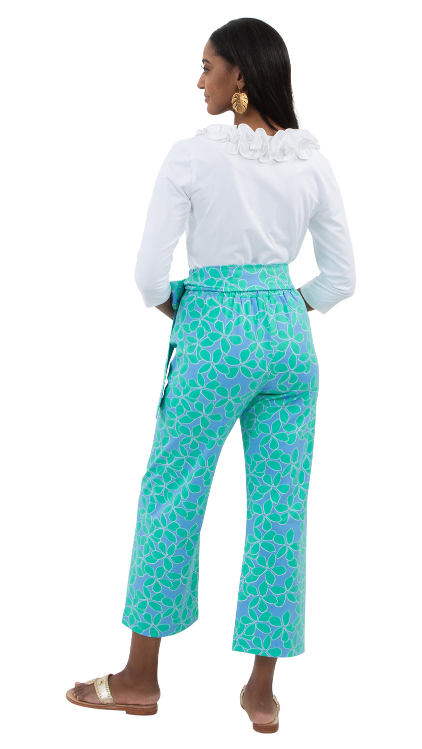 Dorothy Pants - Resort Hibiscus Mint/Blue