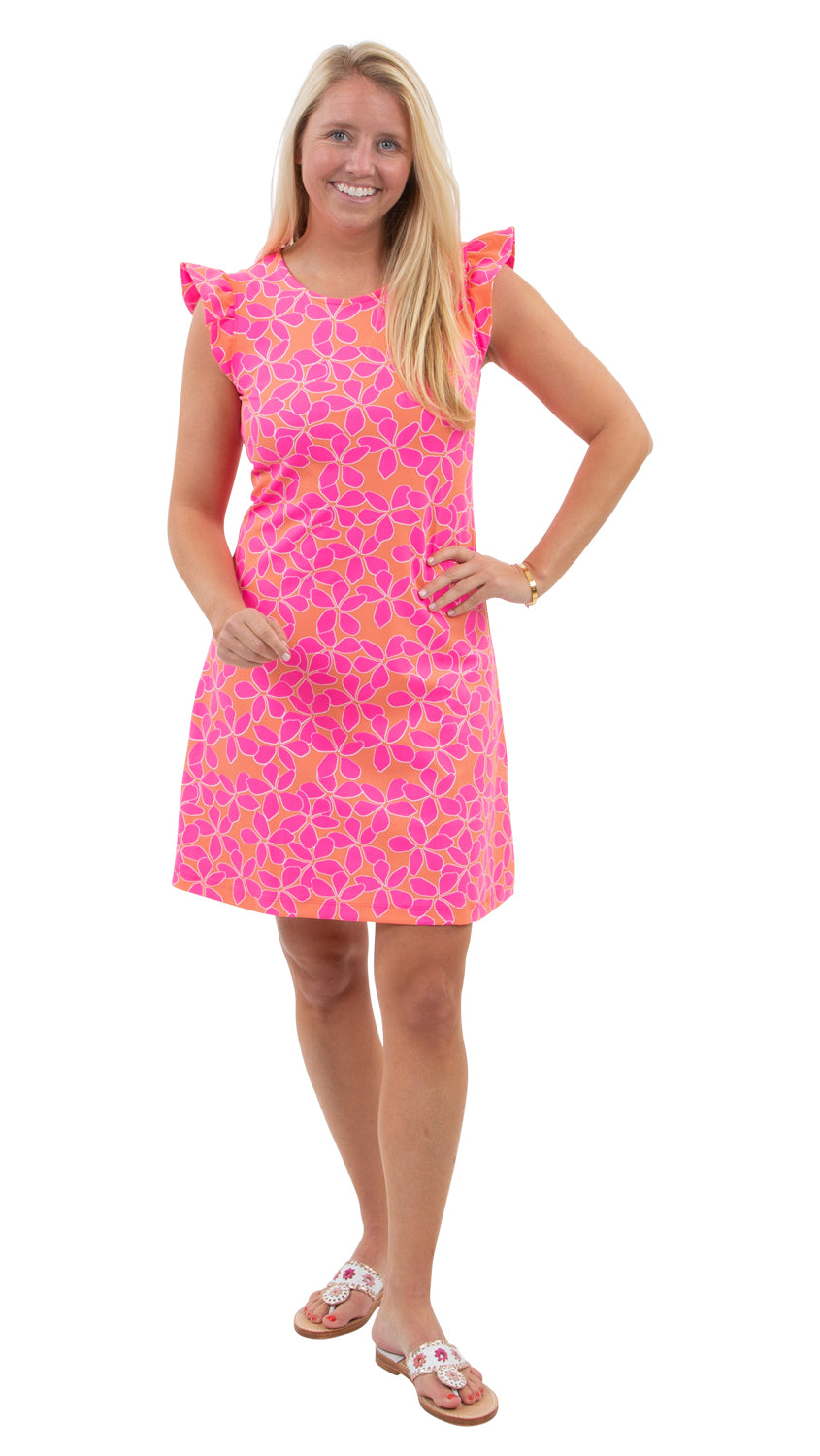 Jojo Dress - Resort Hibiscus Coral/Pink- SAMPLE FINAL SALE