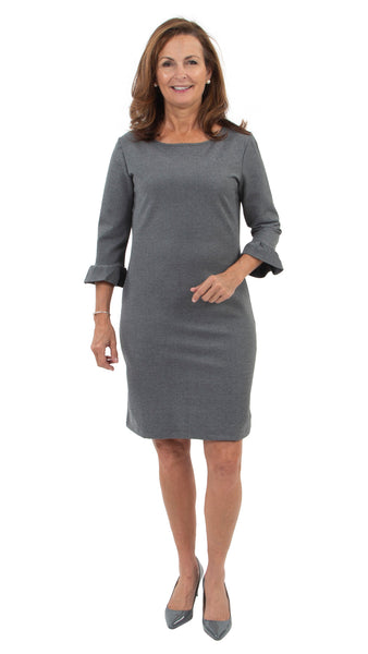 Dockside Dress ¾ Sleeve - Grey Ponte