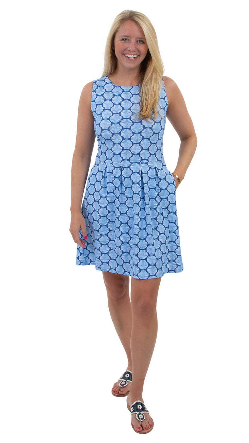 Boardwalk Dress - Navy/Azure Baked Scallops - FINAL SALE