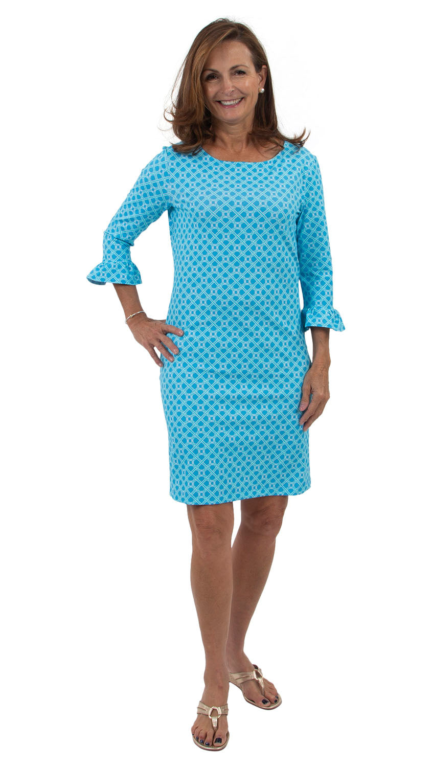 Dockside Dress 3/4 Sleeve - Blue Bamboozled