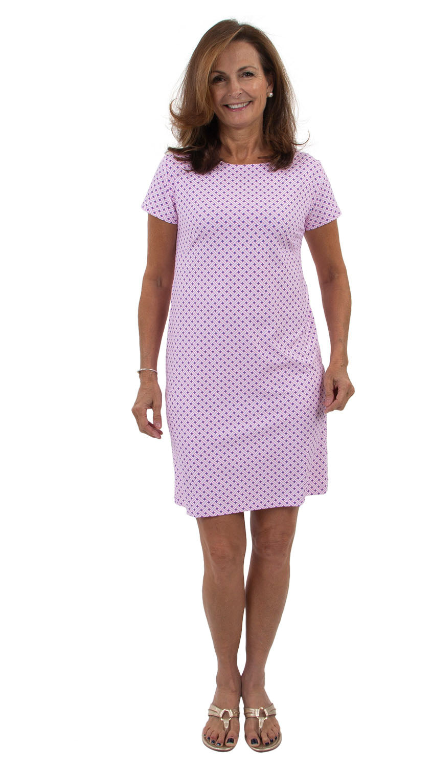 Marina Dress - Blue/Pink Basket Weave
