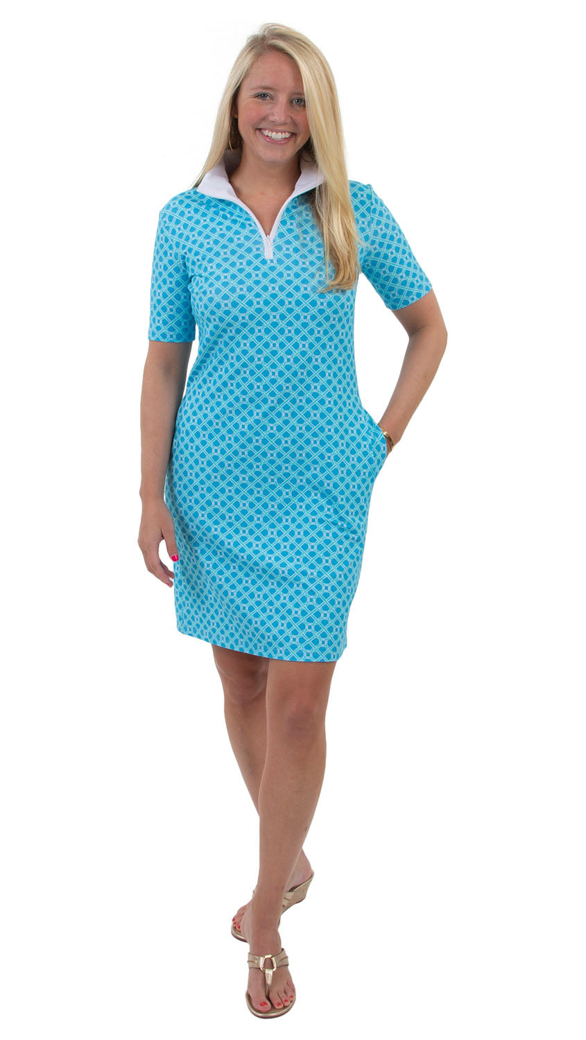 Britt Dress Short Sleeve - Blue Bamboozled
