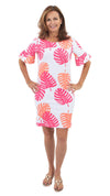 Dockside Dress- Hot Pink/Salmon Dancing Palms