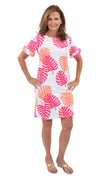 Coco Dress - Hot Pink/Salmon Dancing Palms - FINAL SALE