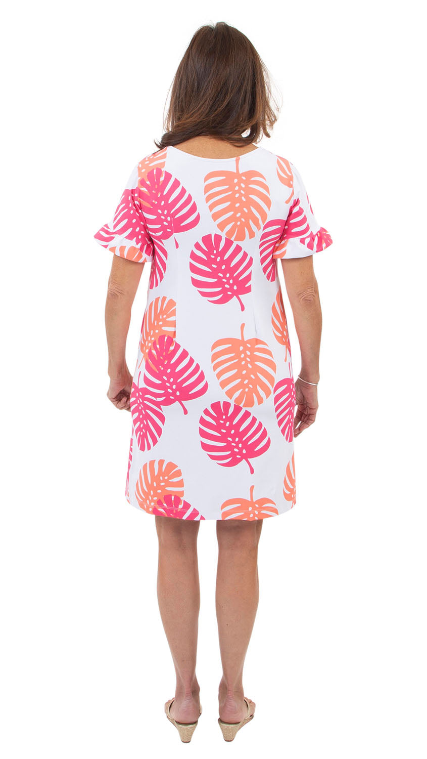 Coco Dress - Hot Pink/Salmon Dancing Palms
