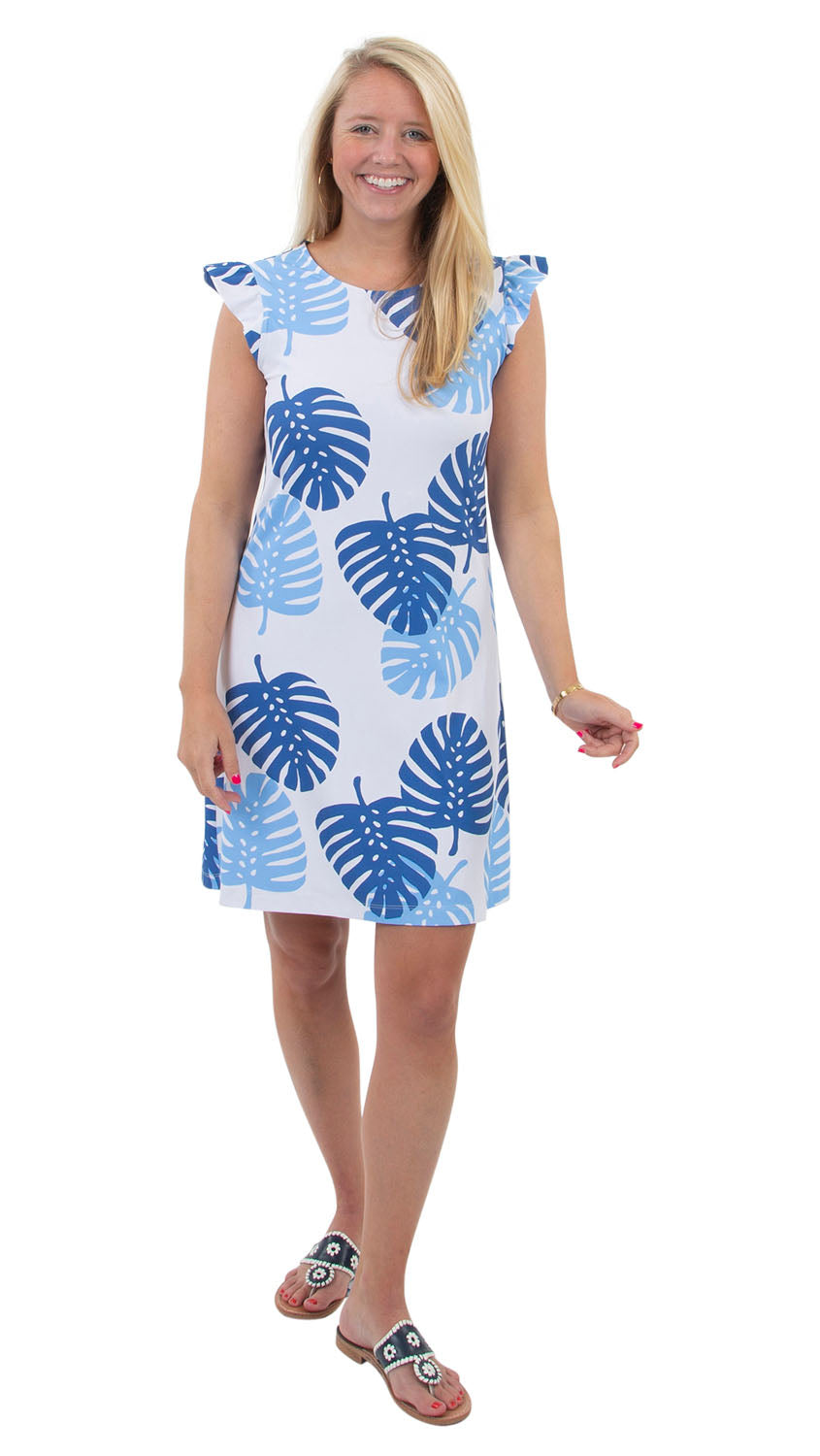 Jojo Dress - Blue Dancing Palms- SAMPLE FINAL SALE