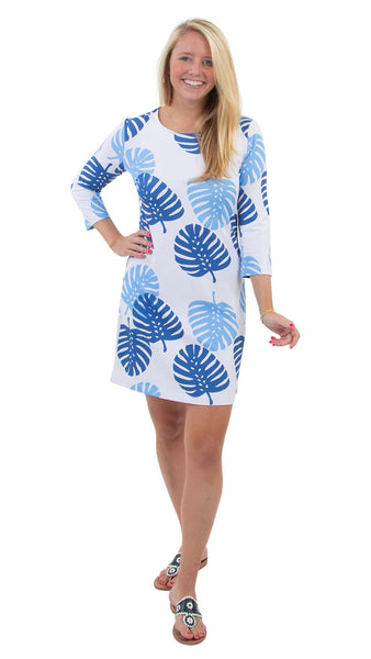 Grace Dress - Blue Dancing Palms SAMPLE - FINAL SALE