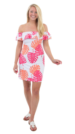 Shoreline Dress - Hot Pink/Salmon Dancing Palms