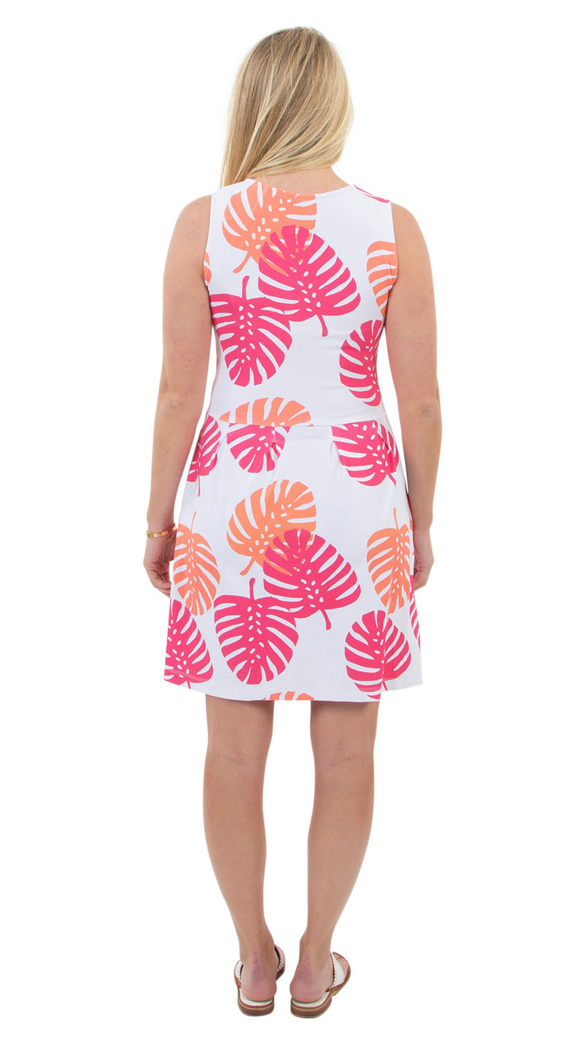 Boardwalk Dress - Hot Pink/Salmon Dancing Palms- SAMPLE FINAL SALE