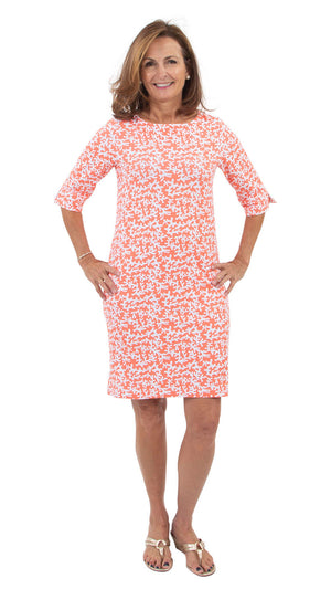 Yacht Club Shift 3/4 Sleeve - Tiny Coral Coral