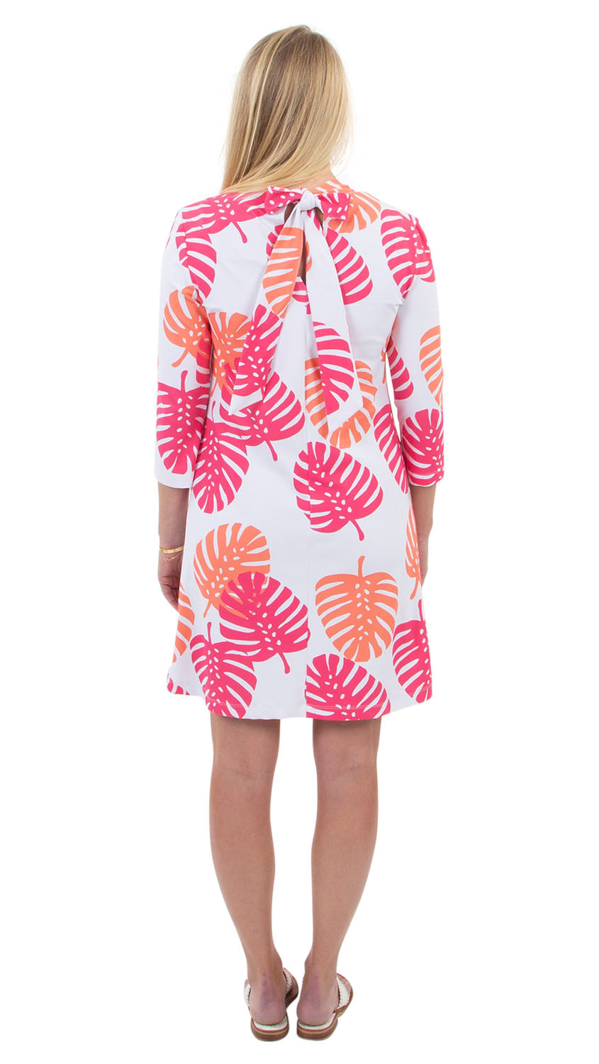 Molly Bow Back 3/4 Sleeve - Hot Pink/Salmon Dancing Palms-SAMPLE  FINAL SALE