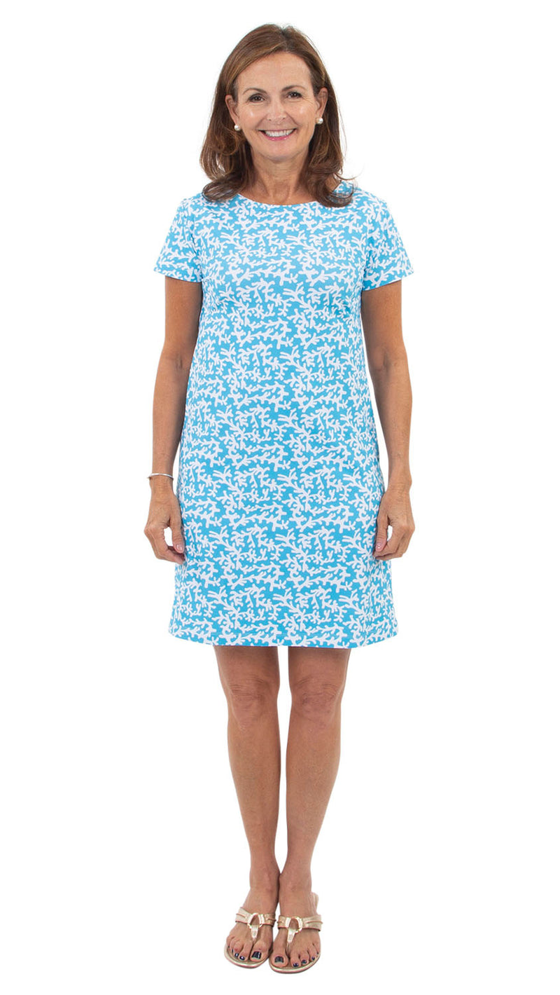 Marina Dress - Tiny Coral Aquarius