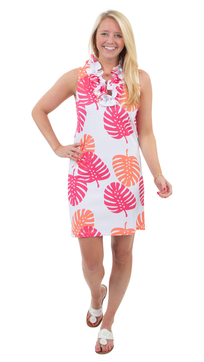 Skipper Dress - Hot Pink/Salmon Dancing Palms- SAMPLE FINAL SALE