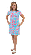 Marina Dress - Tropical Breeze Pink/Blue- SAMPLE FINAL SALE