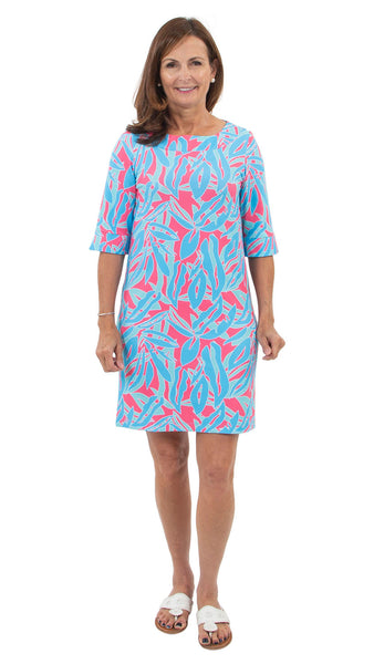 Yacht Club Shift 3/4 Sleeve - Tropical Breeze Pink/Blue SAMPLE - FINAL SALE
