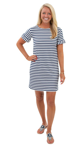Coco Dress - Wide White/Navy Stripe