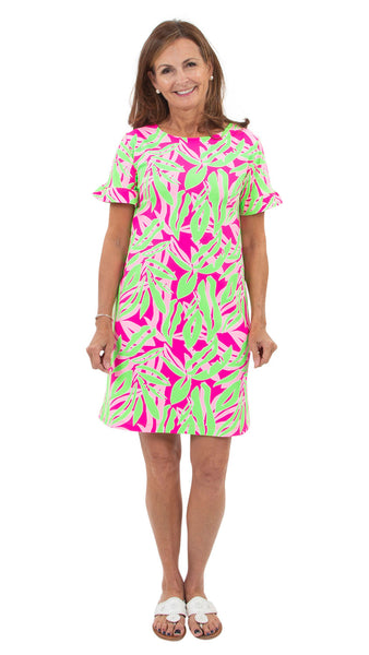 Coco Dress - Tropical Breeze Pink/Green SAMPLE - FINAL SALE