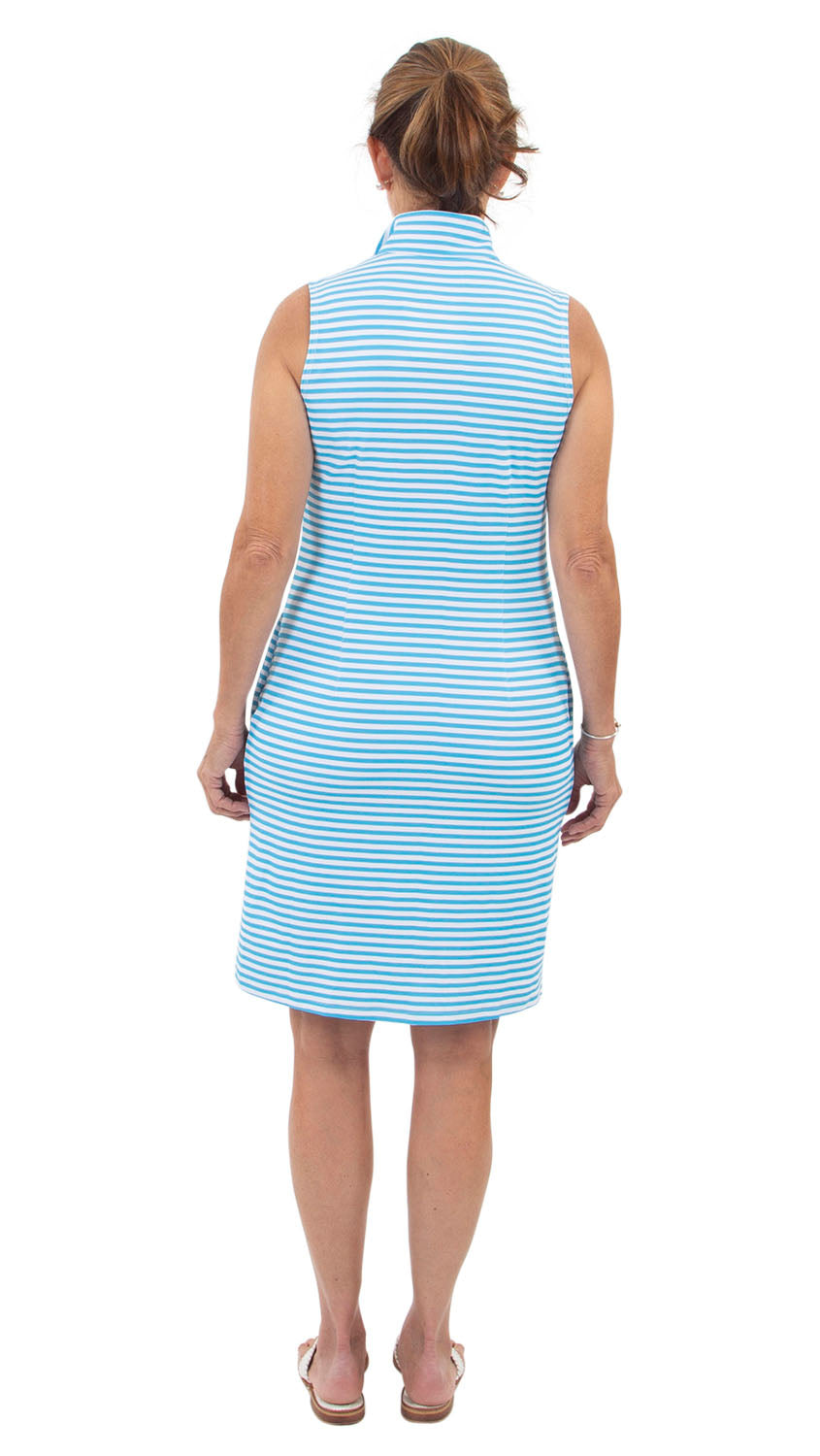 Britt Dress Sleeveless - Aquarius/White Stripe/Neon Pink Collar