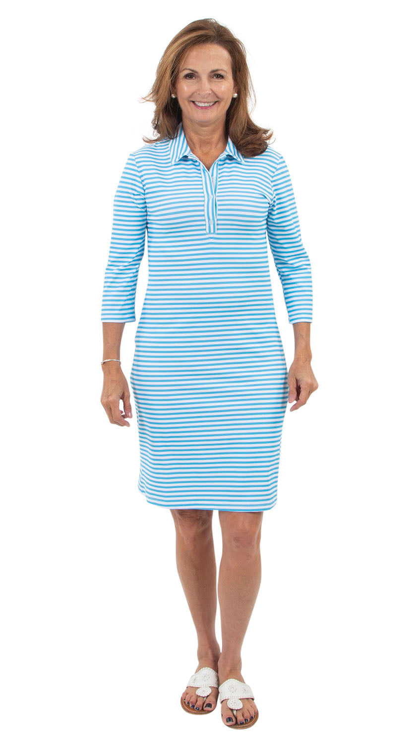Port Dress - Aquarius/White Stripe - SAMPLE FINAL SALE